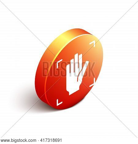 Isometric Palm Print Recognition Icon Isolated On White Background. Biometric Hand Scan. Fingerprint