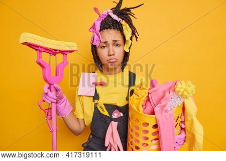 Frustrated Unhappy Housewife Has Sulking Face Expression Has Tired Exhausted Expression After Cleani