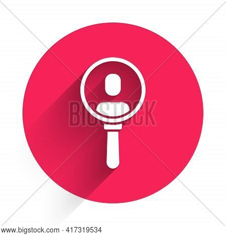 White Magnifying Glass For Search A People Icon Isolated With Long Shadow. Recruitment Or Selection.