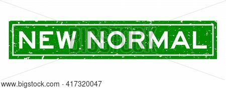 Grunge Green New Normal Word Square Rubber Seal Stamp On White Background
