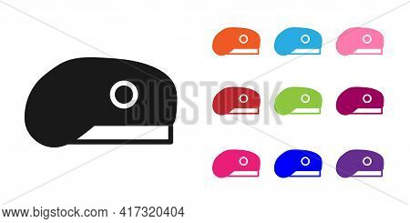Black Military Beret Icon Isolated On White Background. Soldiers Cap. Army Hat. War Baret. Set Icons