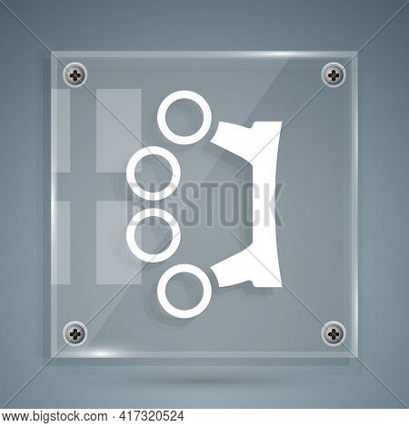 White Brass Knuckles Icon Isolated On Grey Background. Square Glass Panels. Vector