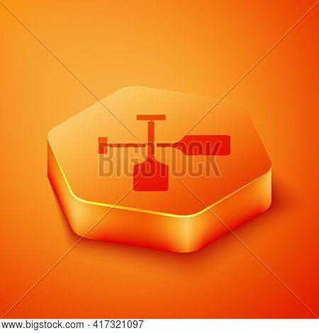 Isometric Paddle Icon Isolated On Orange Background. Paddle Boat Oars. Orange Hexagon Button. Vector