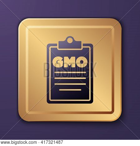 Purple Gmo Icon Isolated On Purple Background. Genetically Modified Organism Acronym. Dna Food Modif