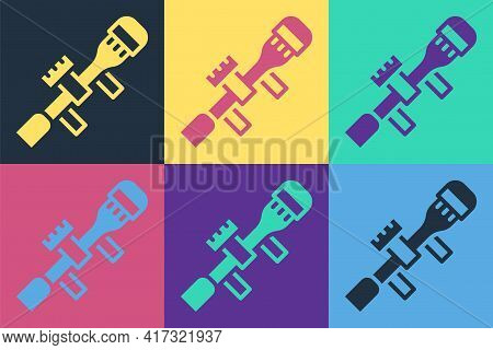 Pop Art Sniper Optical Sight Icon Isolated On Color Background. Sniper Scope Crosshairs. Vector