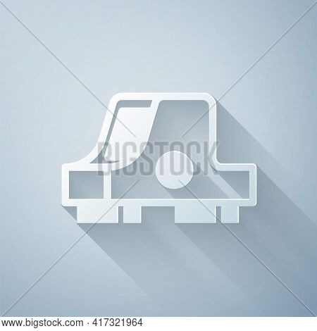 Paper Cut Collimator Sight Icon Isolated On Grey Background. Sniper Scope Crosshairs. Paper Art Styl