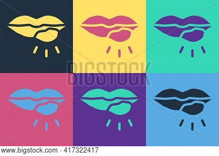 Pop Art Herpes Lip Icon Isolated On Color Background. Herpes Simplex Virus. Labial Infection Inflamm