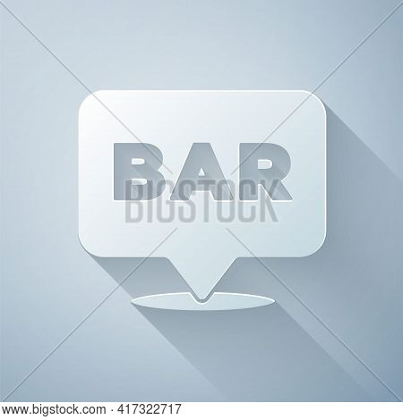 Paper Cut Alcohol Or Beer Bar Location Icon Isolated On Grey Background. Symbol Of Drinking, Pub, Cl