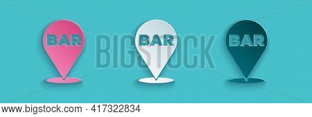 Paper Cut Alcohol Or Beer Bar Location Icon Isolated On Blue Background. Symbol Of Drinking, Pub, Cl