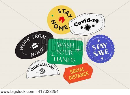 Coronavirus Covid-19 Sticker Collection. Prevention Warning Stickers Set. Vector Design. Stay Home.