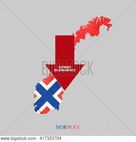 Crash Economics, Norway. Red Down Arrow On The Map Of Norway. Economic Decline. Downward Trends In T