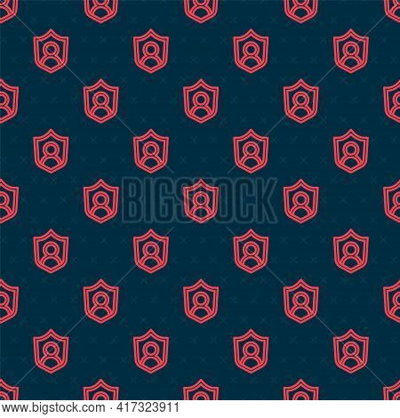 Red Line User Protection Icon Isolated Seamless Pattern On Black Background. Secure User Login, Pass