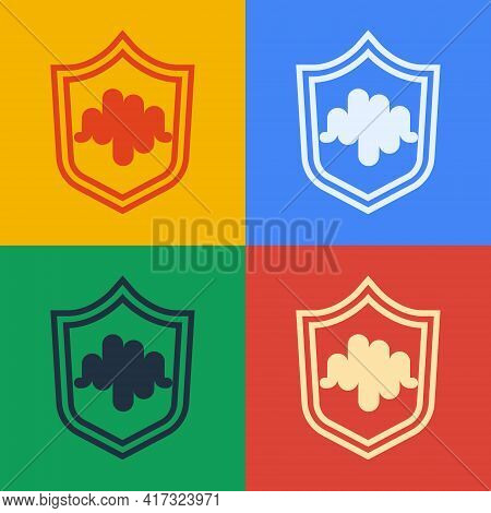 Pop Art Line Shield Voice Recognition Icon Isolated On Color Background. Voice Biometric Access Auth