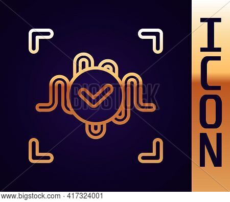 Gold Line Voice Recognition Icon Isolated On Black Background. Voice Biometric Access Authentication