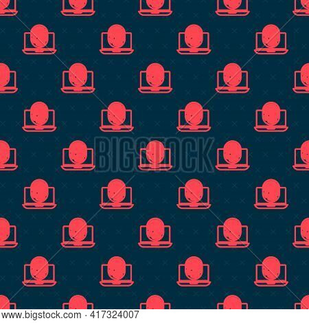 Red Line Laptop With Fingerprint Icon Isolated Seamless Pattern On Black Background. Id App Icon. Id