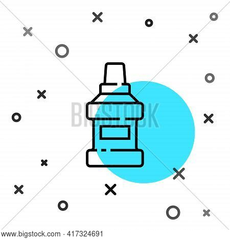 Black Line Mouthwash Plastic Bottle Icon Isolated On White Background. Liquid For Rinsing Mouth. Ora