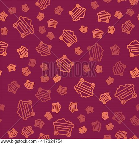 Brown Line Coal Mine Trolley Icon Isolated Seamless Pattern On Red Background. Factory Coal Mine Tro