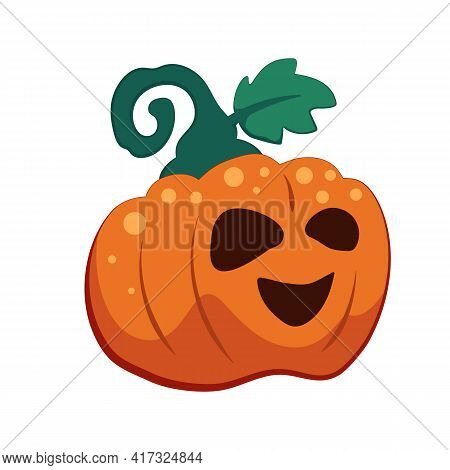Halloween Pumpkin With Smile On Face, Vector Illustration Isolated On White Background. Orange Jack-