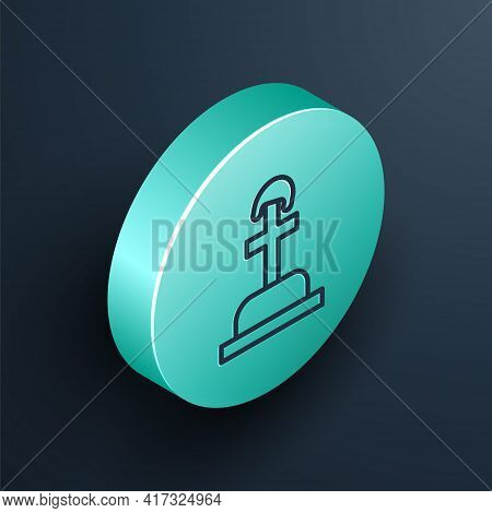 Isometric Line Soldier Grave Icon Isolated On Black Background. Tomb Of The Unknown Soldier. Turquoi