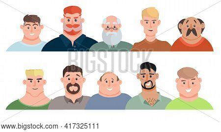 Adult Men Avatars Set. Young Men, Teenagers, Elderly Men. Face Avatars Portraits, Multicultural Huma