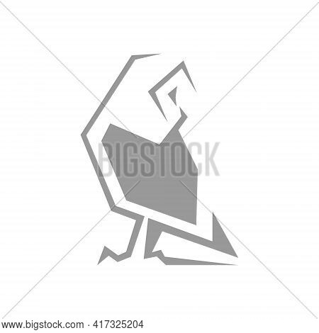 Abstract Barn Owl Symbol On White Backdrop. Design Element