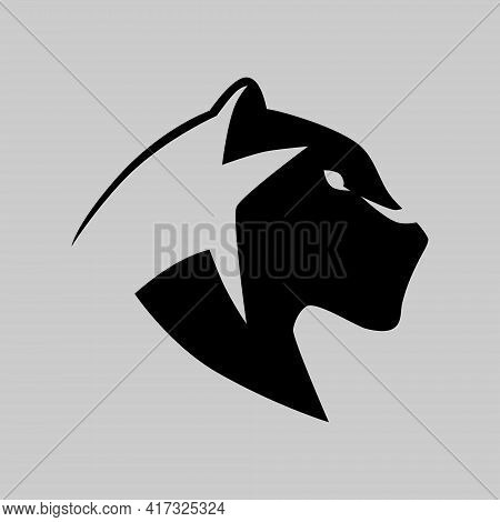 Black Panther Portrait Side View Symbol On Gray Backdrop. Design Element