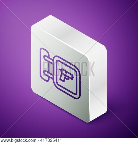 Isometric Line Hunting Shop With Rifle And Gun Weapon Icon Isolated On Purple Background. Supermarke