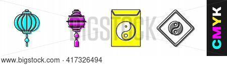 Set Chinese Paper Lantern, Chinese Paper Lantern, Yin Yang And Envelope And Yin Yang Icon. Vector