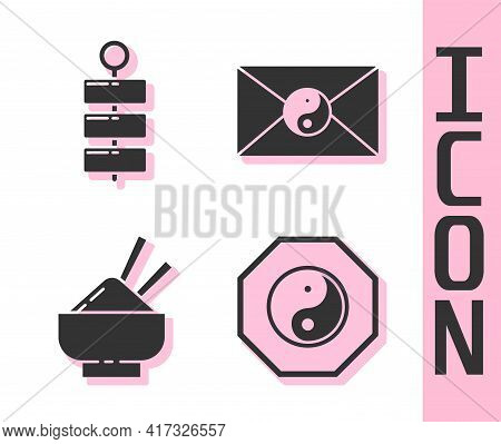Set Yin Yang, Firework, Rice In A Bowl With Chopstick And Yin Yang And Envelope Icon. Vector