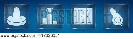 Set Mallet For Playing Air Hockey, Hockey Over Sports Winner Podium, Locker Or Changing Room And Whi