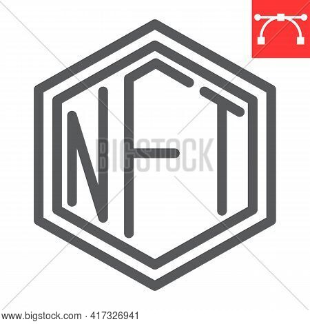 Nft Line Icon, Token And Blockchain, Non Fungible Token Vector Icon, Vector Graphics, Editable Strok
