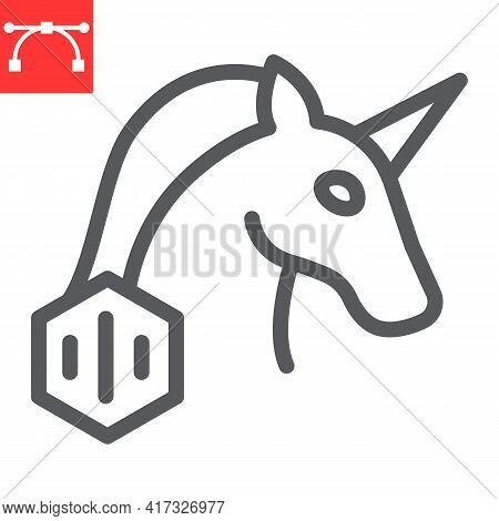 Unicorn With Nft Line Icon, Unique Token And Non Fungible Token, Unicorn Vector Icon, Vector Graphic