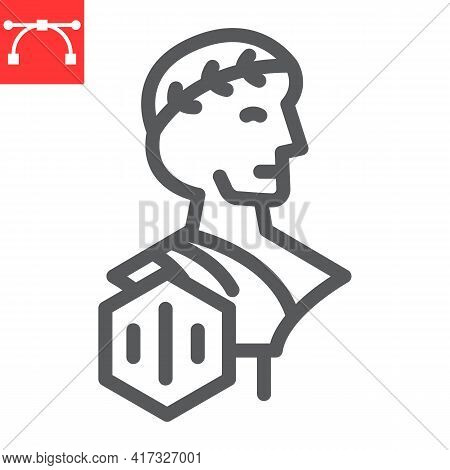 Greek Statue With Nft Line Icon, Unique Token And Nft, Non Fungible Token Vector Icon, Vector Graphi