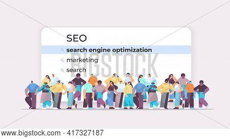 Mix Race People Choosing Seo In Search Bar On Virtual Screen Search Engine Optimization Internet Net