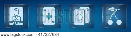 Set Casino Dealer, Playing Card With Clubs, Deck Of Playing Cards And Casino Slot Machine With Cherr
