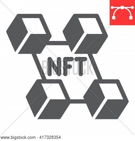 Nft Blockchain Glyph Icon, Unique Token And Blockchain, Non Fungible Token Vector Icon, Vector Graph