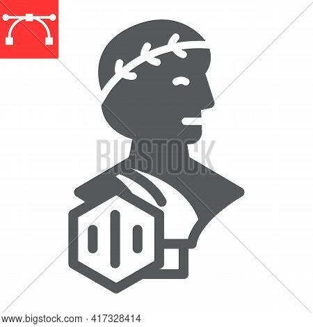 Greek Statue With Nft Glyph Icon, Unique Token And Nft, Non Fungible Token Vector Icon, Vector Graph