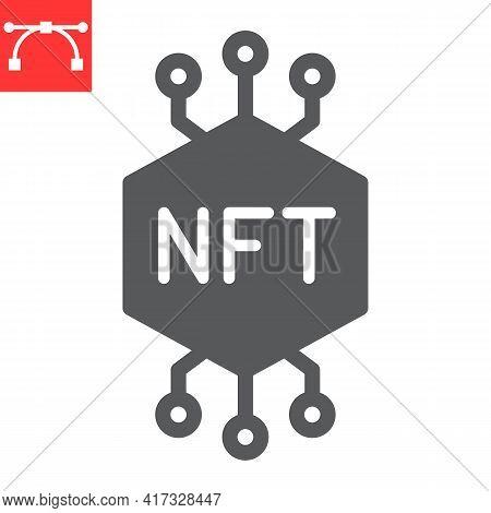 Nft Glyph Icon, Token And Blockchain, Non Fungible Token Vector Icon, Vector Graphics, Editable Stro