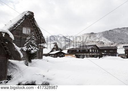 Shirakawa, Japan - Feb 1,2017 : Old Japanese Gassho Farmhouse At Shirakawa Go Village In Shirakawa,