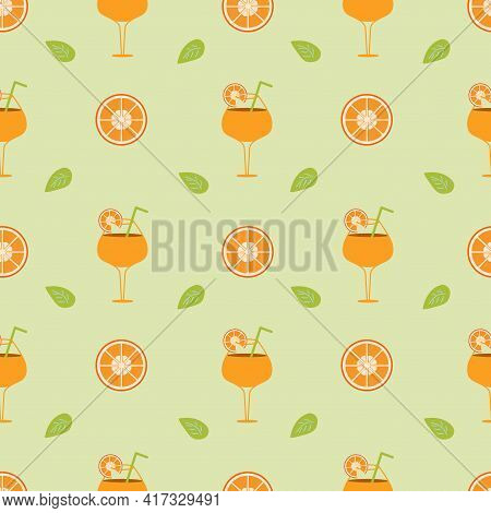 Background With Orange Cocktail And Orange Slices With Leaf On A Green Backdrop. Seamless Vector Ill
