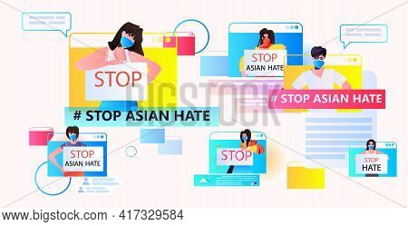 Stop Asian Hate Activists In Masks Protesting Against Racism In Web Browser Windows Support People D