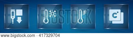 Set Digital Thermometer, Thermometer With Snowflake, Meteorology And Celsius. Square Glass Panels. V