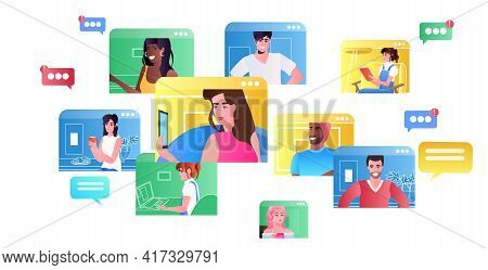 Mix Race Friends In Web Browser Windows Chatting During Video Call Virtual Conference Online Communi