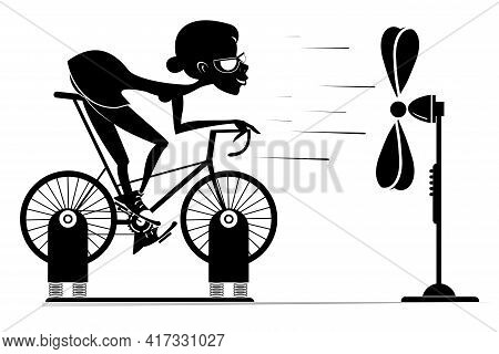 Cyclist Trains At Home On The Exercise Bike Illustration. Cyclist Woman Rides On Exercise Bike In Fr