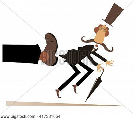 Leg In Boot Kicks A Man To The Ass Illustration. Long Mustache Man In The Top Hat With Umbrella Has