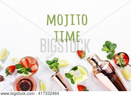 Mojito Mocktail Or Cocktail With Lime, Mint, Strawberry And Ice On White Background. Cold Alcoholic