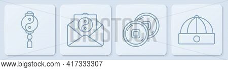 Set Line Yin Yang, Chinese Yuan Currency, Yin Yang And Envelope And Chinese Hat. White Square Button