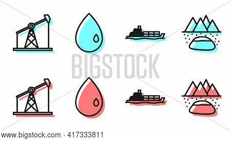 Set Line Oil Tanker Ship, Oil Pump Or Pump Jack, Oil Drop And Oilfield Icon. Vector