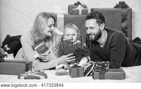 Together On Valentines Day. Lovely Family Celebrating Valentines Day. Happy Parents. Life Can Not Be