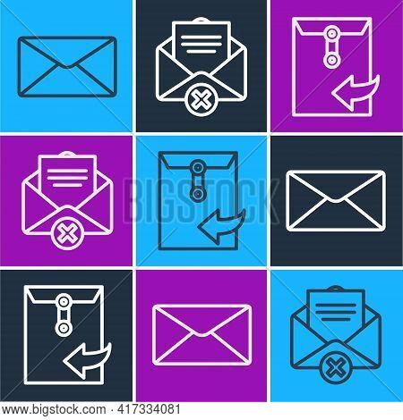 Set Line Envelope, Envelope And Delete Envelope Icon. Vector
